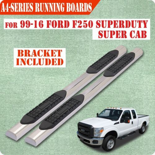 "For 99-16 FORD F250//350 Superduty Super Cab 4/"" Nerf Bar Running Board chrome A"