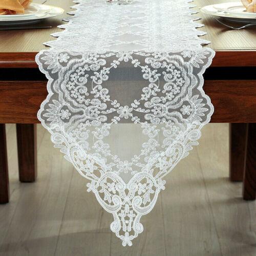Dentelle Mariage table coureur brodé GUIPURE Armoire Table à Manger Couvercle Blanc