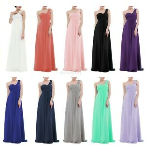 Womens-One-Shoulder-Long-Maxi-Bridesmaid-Dress-Party-Evening-Prom-Gown-Formal