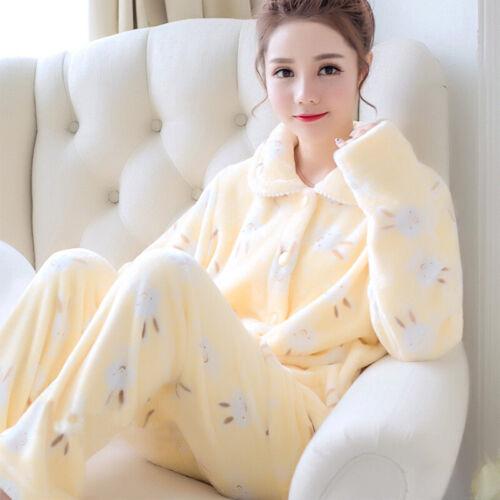Donna Pigiama Set MORBIDA FLANELLA HOMEWEAR Stampato Sleepwear pigiama inverno caldo