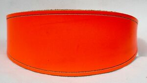 Shaped-Bright-Orange-Hide-Leather-Lurcher-Dog-Collar-holes-fit-12-5-034-16-5-034