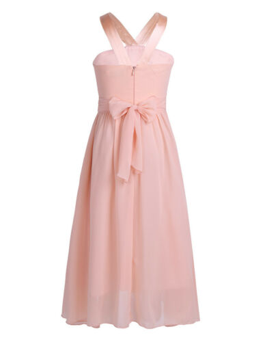 New Chiffon Bridesmaid Princess Wedding Girls Dress Prom Party Kids Clothes