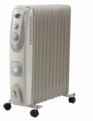 Electric Oil Filled Radiator Heater 2500W 11 Fin Deluxe Adjustable Thermostat He
