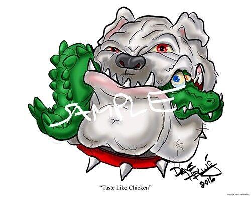 "Georgia Bulldogs Football Dave Helwig 2016 /""Taste Like Chicken/"" Artwork UGA"