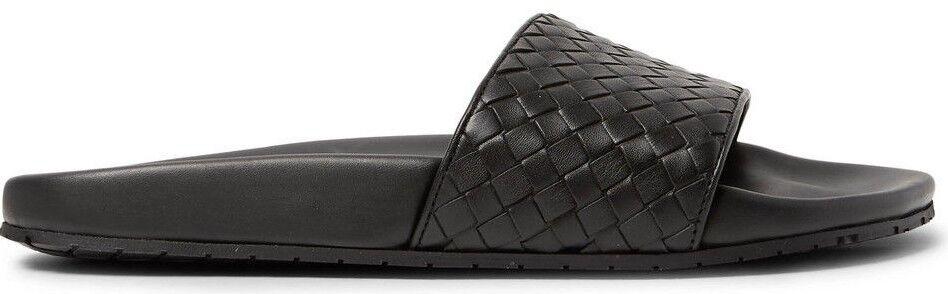 BOTTEGA Veneta Intrecciato Leather diapositive Sandali Scarpe Spiaggia Pantofole Nero