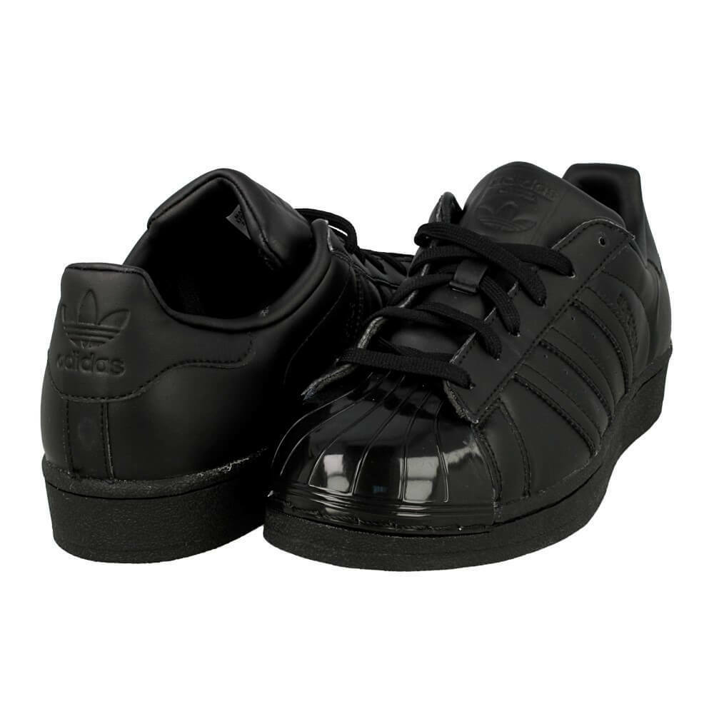 UK SIZE 4 - adidas ORIGINALS SUPERSTAR GLOSSY TOE W TRAINERS - BLACK