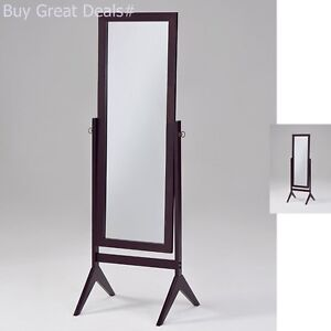 Full Length Body Mirror Floor Stand Large Cheval Bedroom Black Wood ...