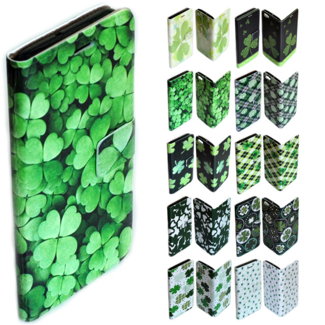For OPPO Series - Shamrock Clover Theme Print Wallet Mobile Phone Case Cover