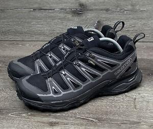 Salomon Mens X Ultra Goretex 371560 Black Gray Hiking Trail Shoes Size US 10