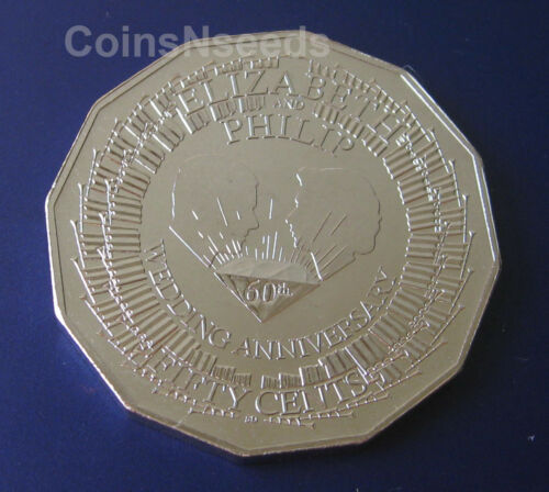 50c 2007 Royal Diamond 60th Wedding Anniversary Australian 50 Cent Coin in Card