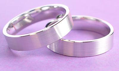 1 Paar Trauringe - Silber 925 Rhodiniert 5µ - Top Qualität - Breite 4mm - Top
