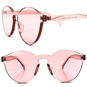 Vintage Retro Fashion One Piece Pink Lens Mens Womens Round Circle ... 2f257374b