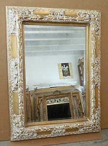 "Large Solid Wood ""36x48"" Rectangle Beveled Framed Wall Mirror"