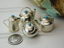 Vtg NAVAJO Sterling Silver Turquoise Miniature Tea Coffee Pot SUGAR BOWL Lot WKW