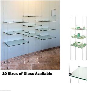 cable system shop window display toughen glass shelves 1200mm x rh ebay co uk Glass Display Shelves Glass Window Shelves