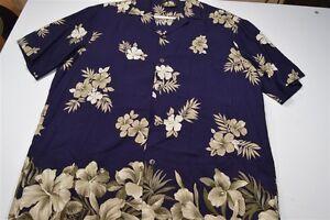 Paradise-Bay-Hawaii-Rayon-Navy-Blue-Tan-Medium-Men-039-s-Shirt