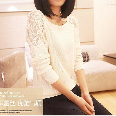 Womens Casual Long Sleeve Knitwear Jumper Lace Cardigan Long Coat Jacket Sweater