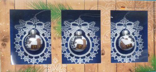 Glaskugel bemalt silber  im 3er Set wunderschön Plauener Spitze Spitzenrahmen