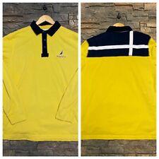 Nautica Big Logo Rugby Polo Shirt Colorblock Yellow Mens XL New