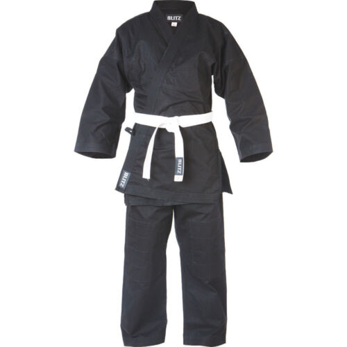 Blitz Kids Traditional Jujitsu Suit Black Sparring Training Uniform Gi