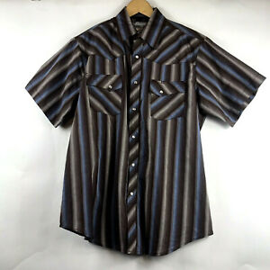 Wrangler-Wrancher-Mens-Pearl-Snap-Brown-Plaid-Short-Sleeve-Shirt-Size-Large