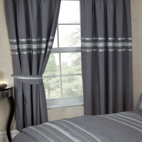 GLITZ GREY SILVER RIBBON 200 THREAD COUNT COTTON LUXURIOUS BEDDING OR CURTAINS