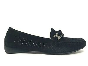 STUART-WEITZMAN-Womens-Black-Suede-Leather-Driving-Loafers-Shoes-Flats-Size-7-M