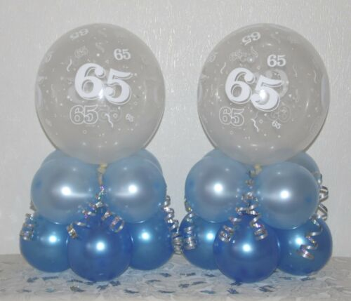 6 12 Pack Table Balloon Decoration Display Kit 65th Birthday  2 BLUE