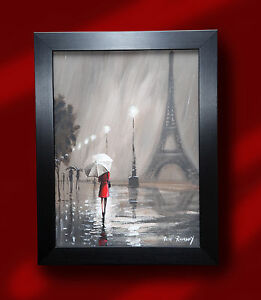 ORIGINAL-ROMANTIC-OIL-PAINTING-PETE-RUMNEY-039-LADY-IN-RED-PARIS-039-EIFFEL-TOWER