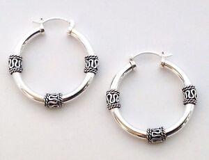 8c0b3d585 Tribal Artisan Bali Sterling Silver 925 Huggie Hoop Womens Jewelry ...