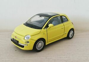 Fiat-500-Diecast-Scale-Model-Car-1-38-Yellow-Collectors-NEW