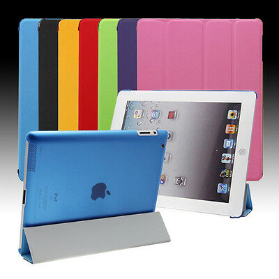 Pu Leather Smart Cover with Clear Back Case for Apple iPad 4 3 2