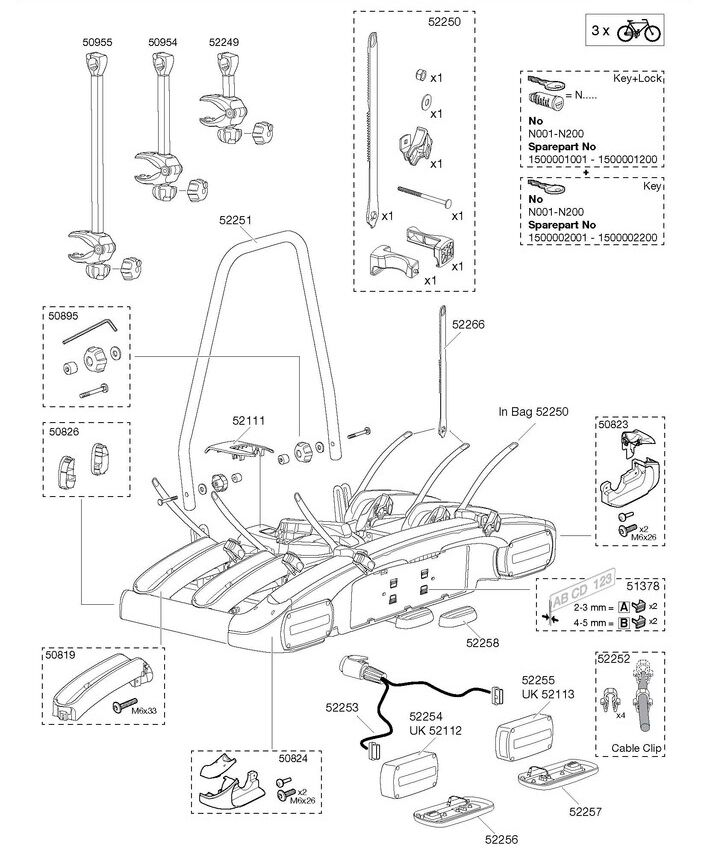 Thule 928 929 EuroClassic G6 LED Towbar Mounted Carrier Spares Multi-Listing