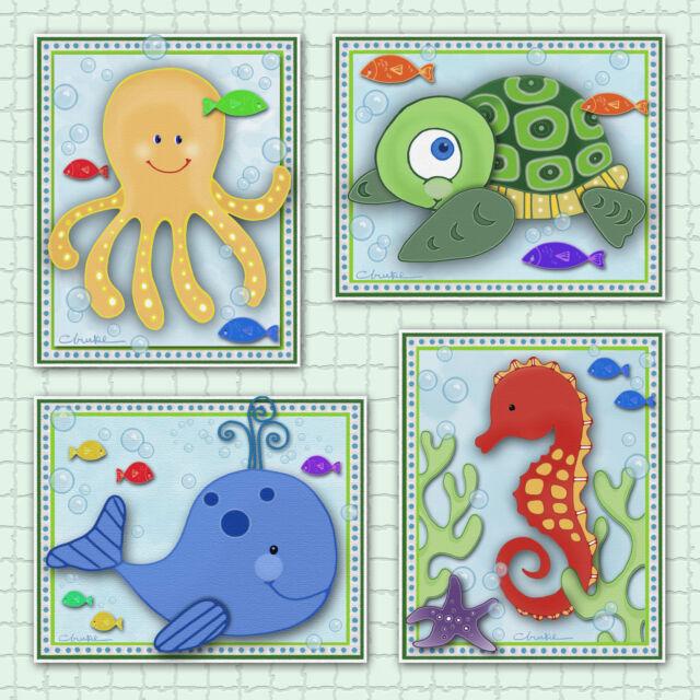 Kids Sealife/Ocean Animals Nursery/Bathroom Art Prints. Seahorse, Whale, Octopus