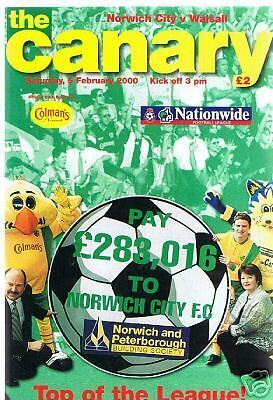 programme, Norwich City v Walsall, 05.02.00, FREEPOST