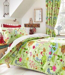 Kids-BLUEBELL-WOODS-Woodland-Garden-Forest-Floral-Themed-Green-Single-Duvet