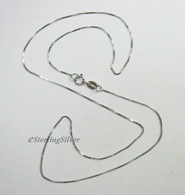 """Thin 925 Sterling Silver Box Chain / Necklace - 17.5"""", 0.6mm, 1.3 grams"""