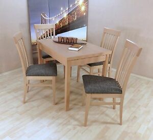 Tischgruppe Buche Massiv Natur Anthrazit Essgruppe 4 X Stühle