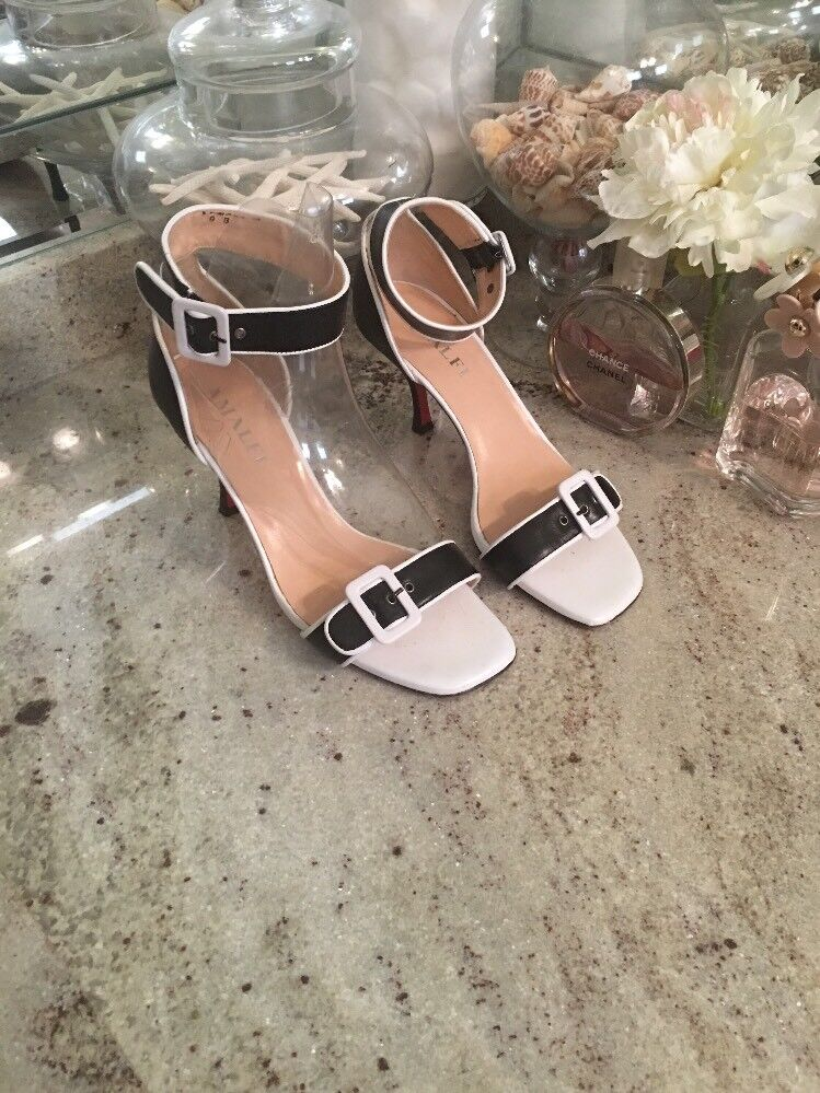 Amalfi By Rangoni Pin Up  Leather Pumps 9 White Black Ankle Strap