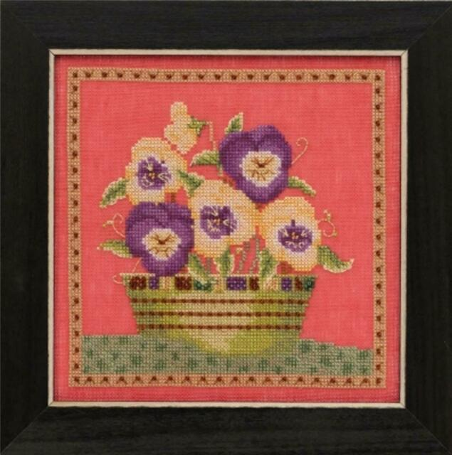 MILL HILL BLOOMS and BLOSSOMS Counted Cross Stitch Kit -PANSIES - Debbie Mumm