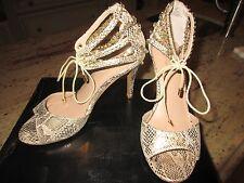 Thalia Sodi Evahly Champagne Snake Open Toe Evening Shoes, Rhinestones, Size 7M
