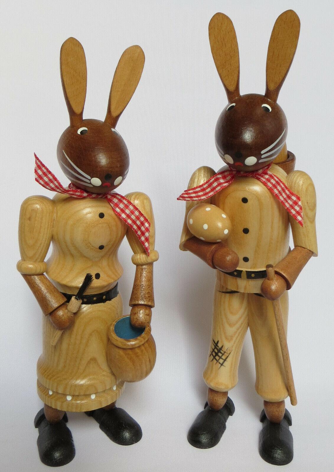 Osterhasenpaar 23cm groß natur-Holz Erzgebirge Handarbeit Hasen-Paar Osterhasen