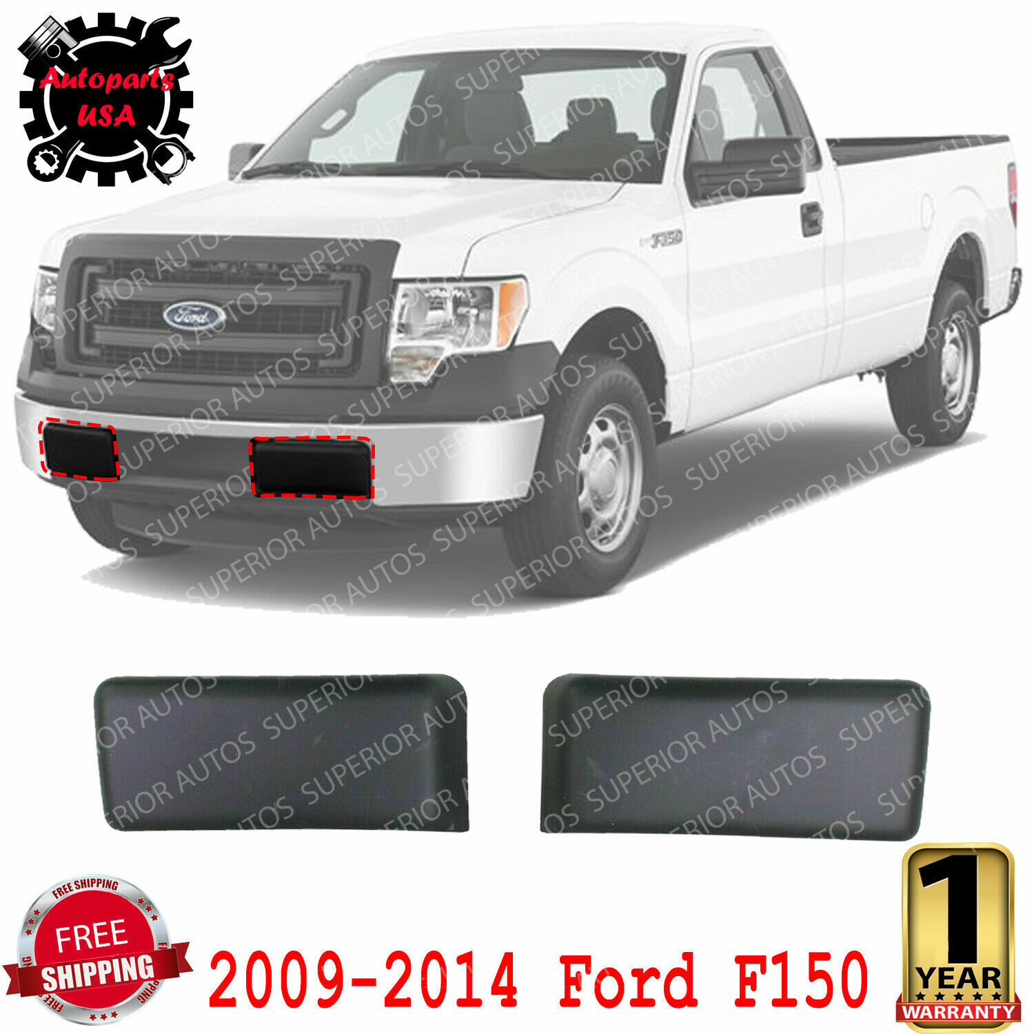 Plastic For F-150 09-14 Front LH=RH Side Bumper Guard Textured