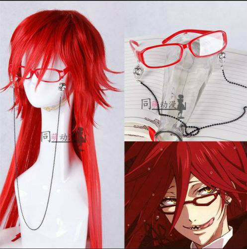 Anime Black Butler Grell Sutcliff Wig Red Wig Cos Prop STANDARD