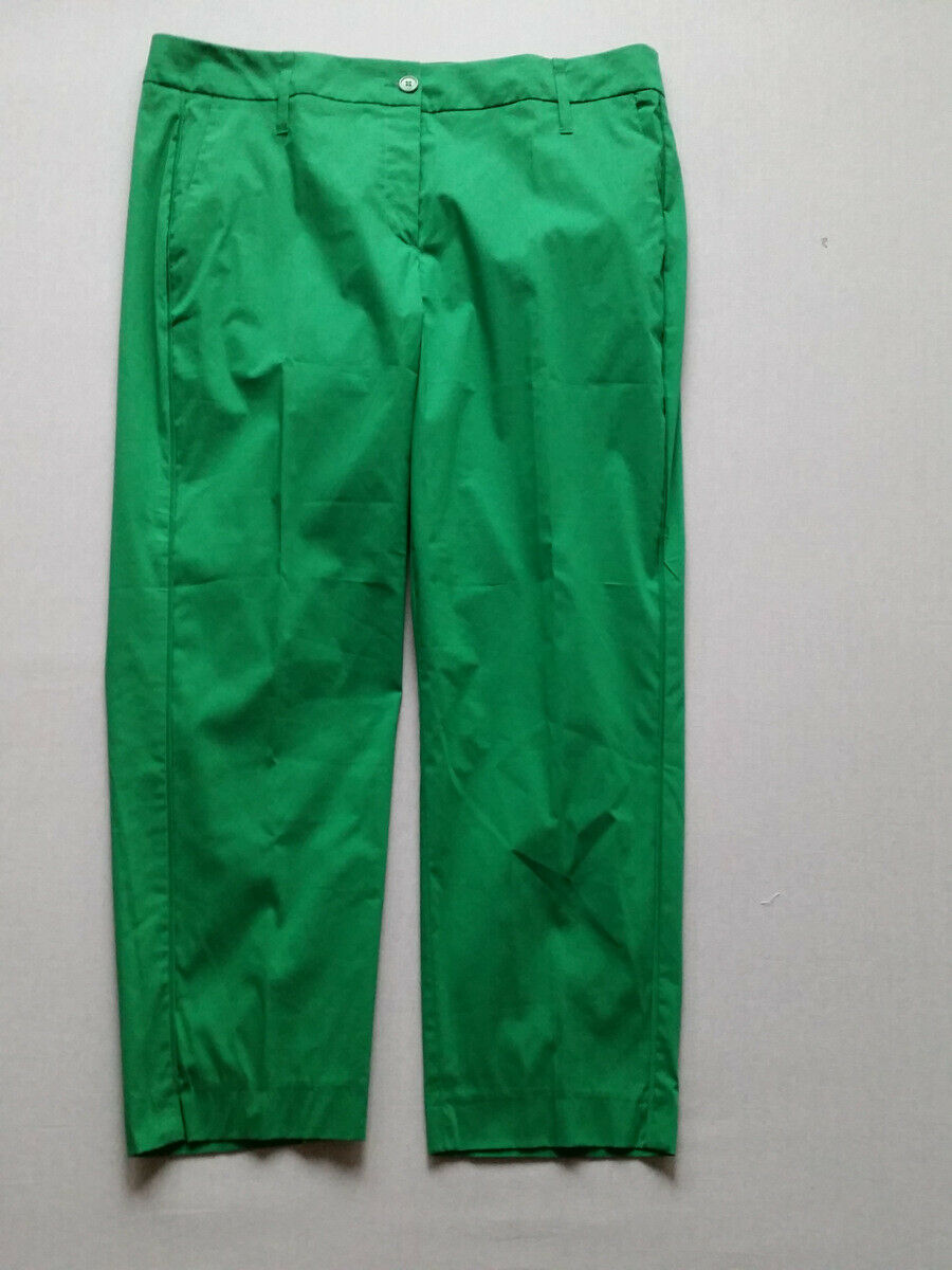 Luisa Cerano Trousers Elastic Green Sz 42 44 Rp New
