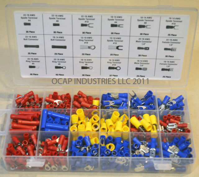 520 pieces ASSORTED WIRE CONNECTOR TERMINAL KIT - ELECTRICAL WIRING SPLICE 22-10