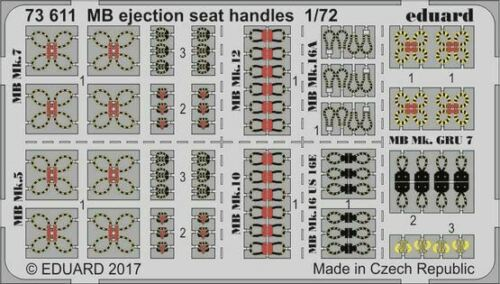 PAINTED 73611 MB EJECTION SEAT HANDLES EDUARD 1//72 AIRCRAFT
