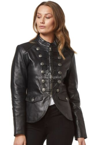 'VICTORY' Ladies Real Lambskin Leather Jacket BLACK Military Parade Style Soft