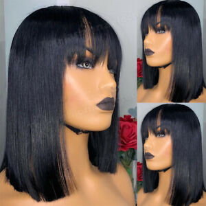 100-Real-Indian-Virgin-Human-Hair-Full-Wig-Short-Straight-Bob-Wig-With-Bangs-Zz