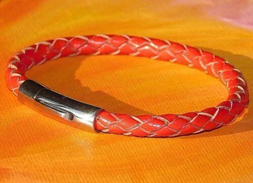 Señoras//Rojo 5mm para Hombre de Cuero Trenzado /& Pulsera De Acero Inoxidable-Arte Lyme Bay.